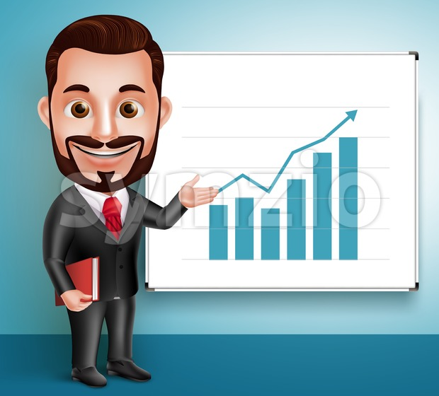 Business Man Vector Character Happy Speaking Stock Vector