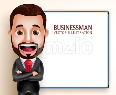 Business Man Vector Character Presentation Stock Vector