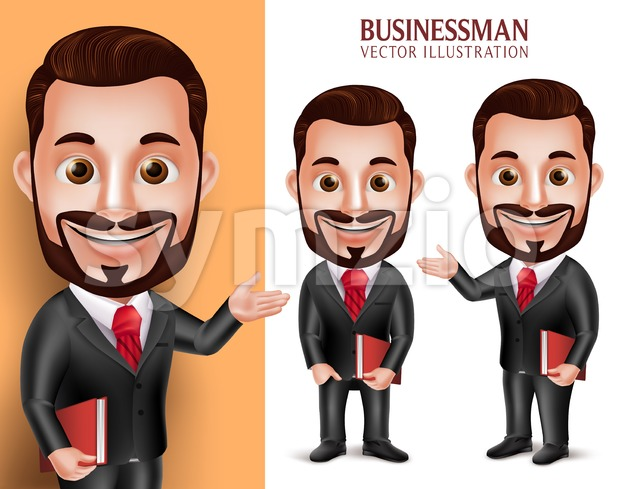 3D Realistic Professional Lawyer Man Student Vector Character Happy Holding Book Isolated in White Backgroundin vector illustration.This set of handsome ...