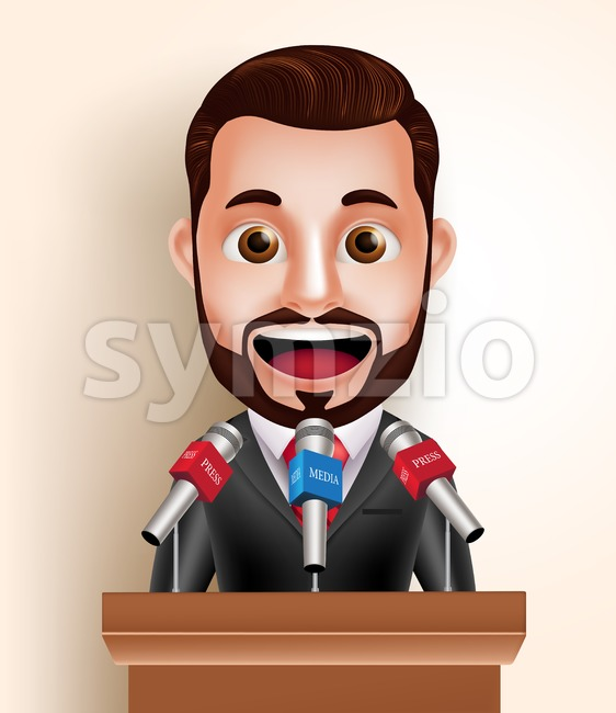 3D Happy Speaker Man or Politician Vector Character with Media Press Interview Talking in Microphone in vector illustration. This handsome businessman vector ...