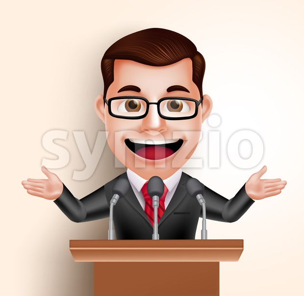 3D Professional Happy Politician Man or Speaker Vector Character in Conference Speech Talking with Microphone in vector illustration. This handsome businessman vector character ...