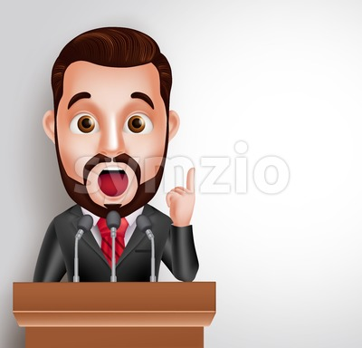 Conference Speaker Vector Character Talking Stock Vector