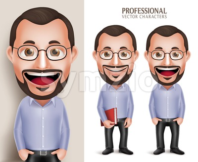 Teacher Professor Man Vector Character Holding Book Stock Vector