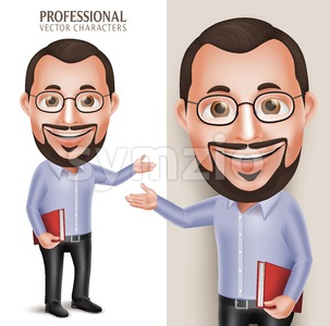 Professor Teacher Vector Character Holding Book Stock Vector