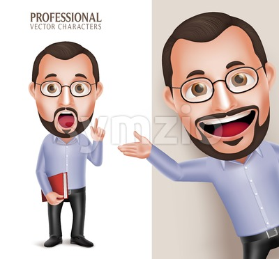 Professor Vector Character Holding Book Stock Vector