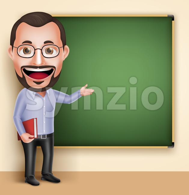 Old Man Professor Teacher Vector Character Speaking Stock Vector
