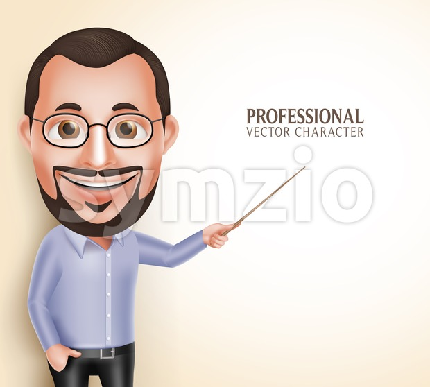 Professor Teacher Man Vector Character Stock Vector