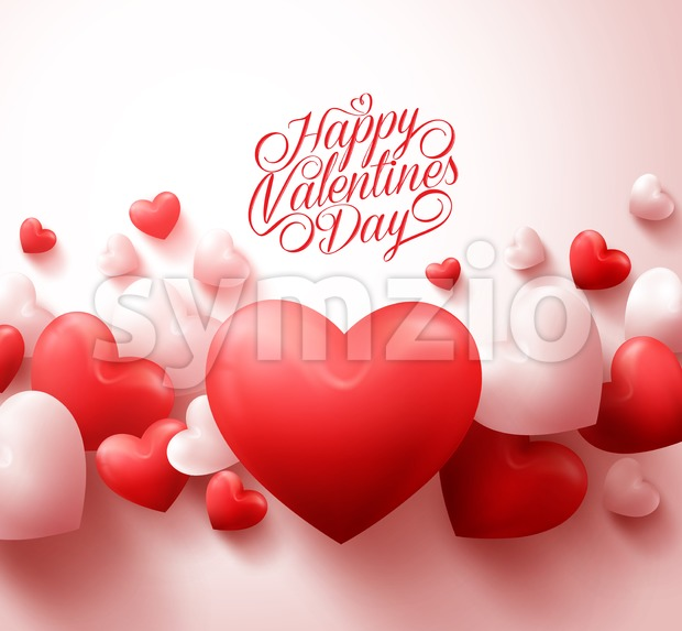 Hearts Happy Valentines Day Background Vector Stock Vector