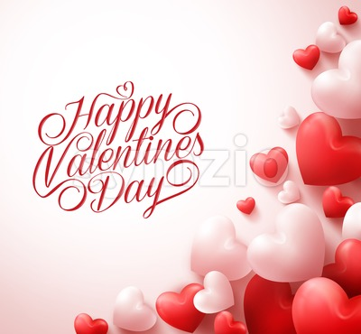 Happy Valentines Day Greetings with 3D Hearts Stock Vector