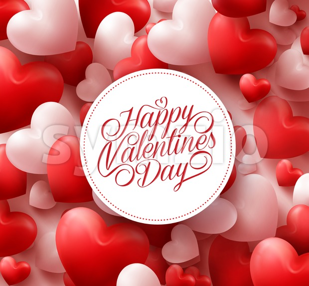 3D Realistic Red Vector Valentines Hearts Background with Happy Valentines Day Greetings in White Circle. Vector Illustration.