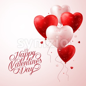 Red Heart Balloons Flying with Vector Love Pattern Stock Vector