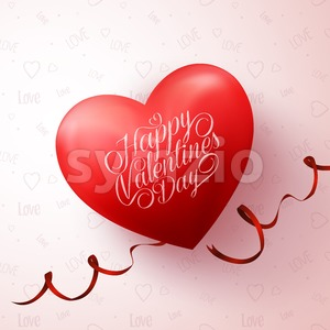 3D Sweet Red Valentines Heart Vector Stock Vector