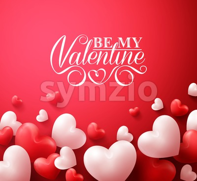 Valentine Hearts Vector Red Background Stock Vector