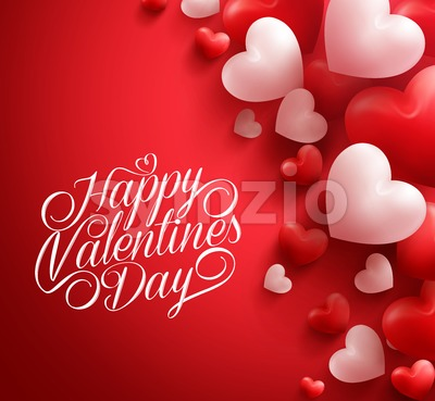 Smooth Vector Valentine Hearts Background in Red Stock Vector