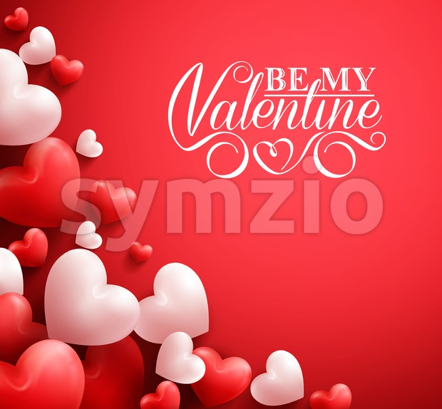 Valentines Hearts Background Vector in Red Stock Vector