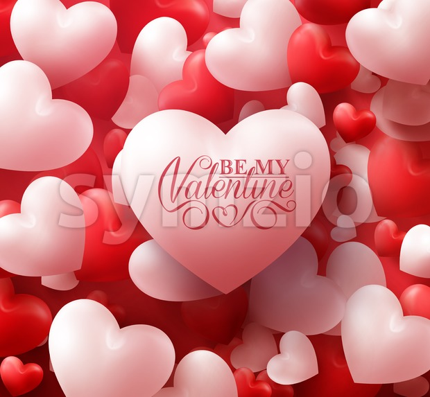 Soft Hearts Valentines Red Vector Background Stock Vector