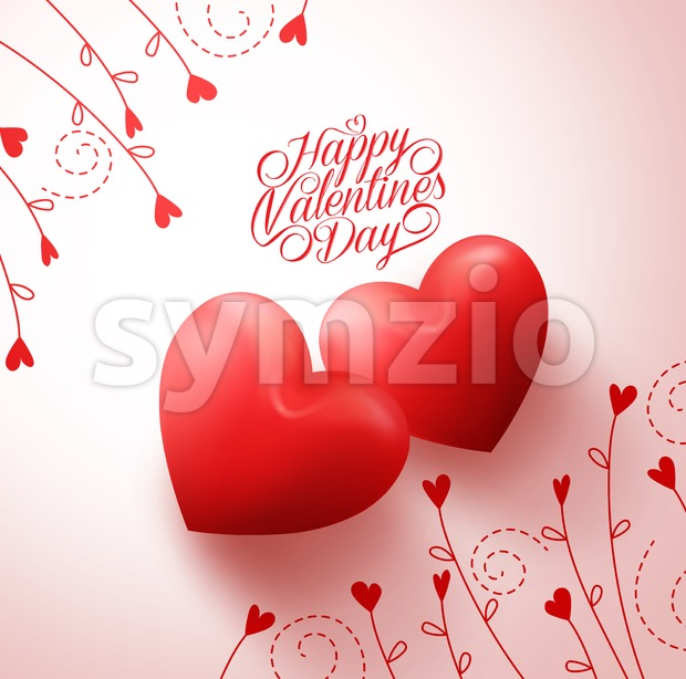 Happy Two Red Hearts Lovers for Valentines Day Greetings in White Background with Flowers Vine Pattern. Vector Illustration.