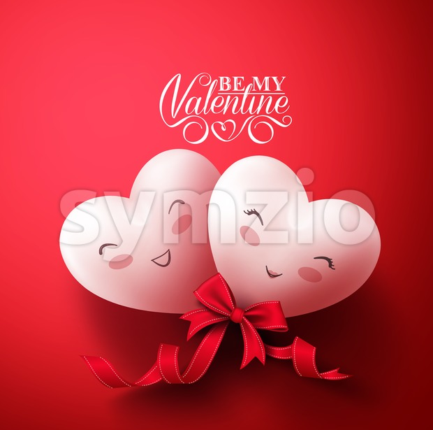 Valentines Sweet Smiling Hearts of Happy Lovers for Happy Valentines Day Greetings in Red Background with Ribbon. Vector Illustration.