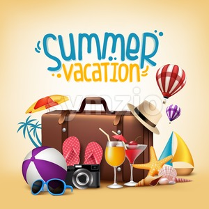 Summer Vacation Poster Vector Design Stock Vector