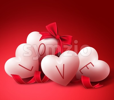 Vector Love Hearts with Ribbons for Valentines Stock Vector