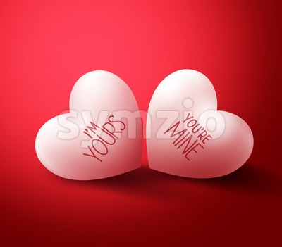 Two Lovers Hearts for Valentines Greetings Stock Vector