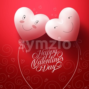 Hearts In Love with Happy Face for Valentines Stock Vector
