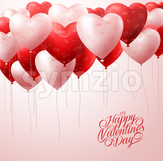 Red Heart Balloons Flying for Valentines Vector Stock Vector