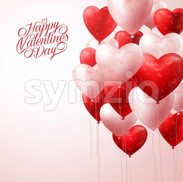 Realistic White and Red Vector Valentines Heart Balloons Flying in Light for Valentines Background with Greetings and Space for Message. Vector Illustration.