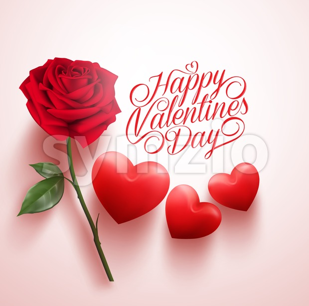 Vector Red Rose and Hearts with Happy Valentines Stock Vector