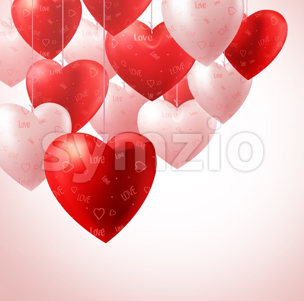 Vector Heart Balloons Hanging for Valentines Stock Vector