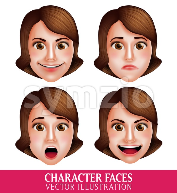 Set of 3D Realistic Vector Face of Woman Head Character with Facial Expressions Isolated in White Background Vector Illustration. This beautiful ...