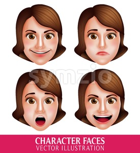 Vector Face of Woman Head Character with Expressions Stock Vector