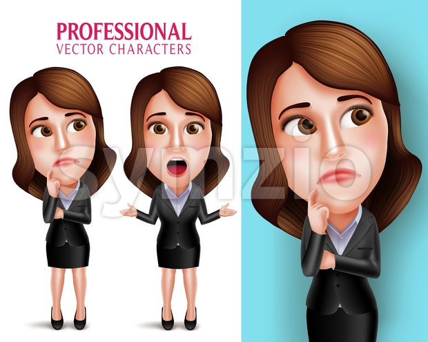 Set of 3D Realistic Professional Woman Vector Character with Business Outfit Thinking or Confused and Talking in Poses Isolated in ...