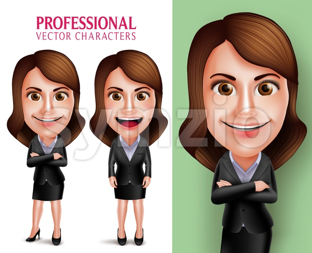 Set of 3D Realistic Professional Woman Vector Character in Business Outfit Happy Smiling in Poses Isolated in White Background Vector ...