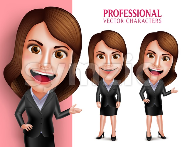 Set of 3D Realistic Professional Businesswoman Vector Character Happy Smiling while Pointing or Showing in Poses Isolated in White Background ...