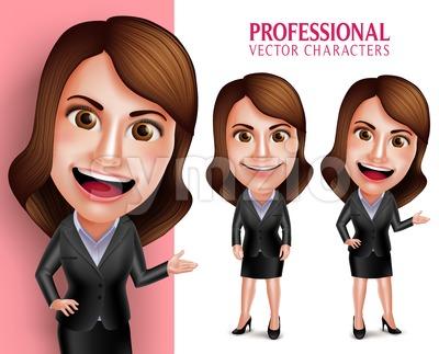 Businesswoman Vector Character Happy Smiling Stock Vector