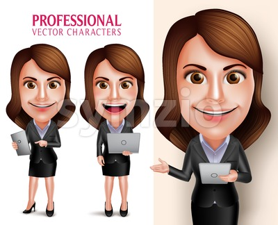 Business Woman Vector Character Holding Mobile Tablet Stock Vector