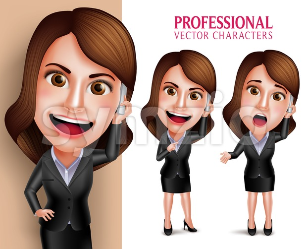 Business Woman Vector Character Talking in Mobile Phone Stock Vector