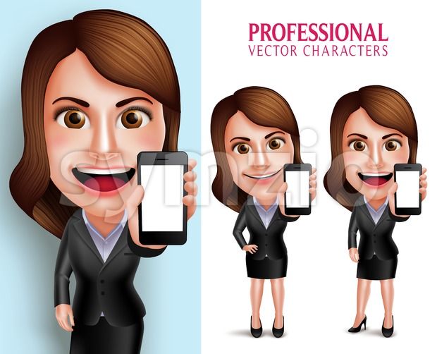 Set of 3D Realistic Professional Business Woman Vector Character Showing Mobile Phone with Blank Screen  Isolated in White Background Vector ...