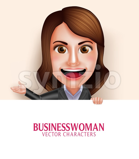 Business Woman Vector Character with Smile Stock Vector