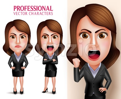 Business Woman Vector Character Angry and Mad Stock Vector