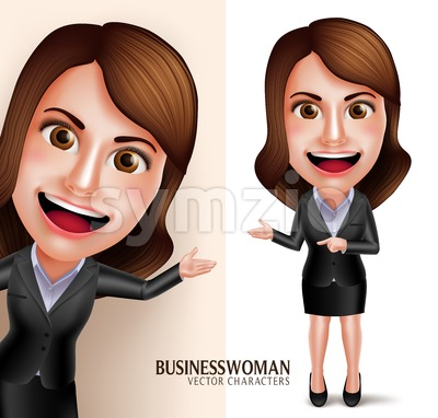 Business Woman Vector Character Showing Presentation Stock Vector