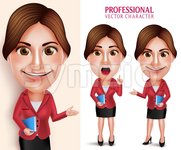 3D Realistic Good Looking Professional School Teacher Vector Character Teaching Lesson while Smiling Holding Books in Empty White Board. Vector ...
