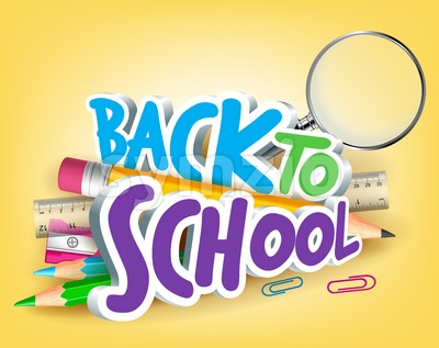 Colorful Realistic 3D Vector Back to School Title Stock Vector