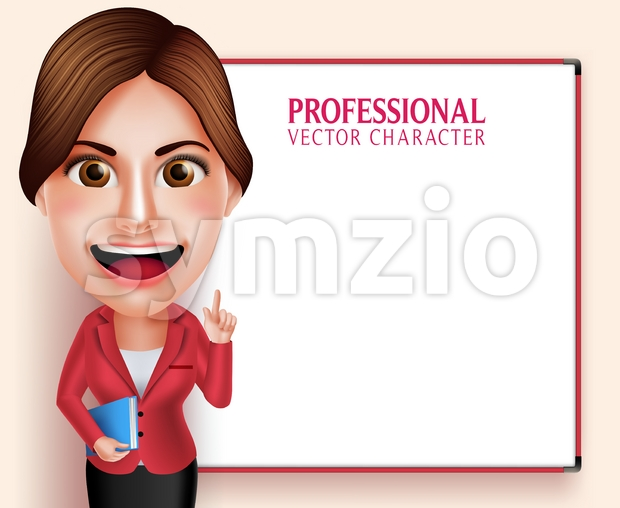3D Good Looking Professional Smiling School Teacher Vector Character Teaching Lessons While Holding Books Pointing an Empty Space Vector Illustration. This beautiful ...