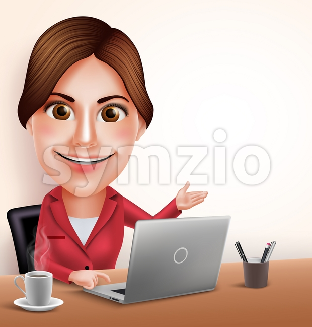 3D Realistic Professional Businesswoman or Secretary Vector Character Working in Office Desk with Laptop Pointing Empty Space Vector Illustration. This beautiful ...