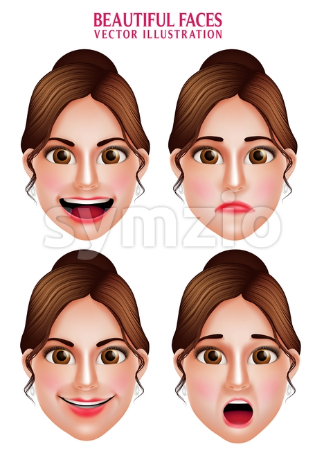 Woman Vector Faces with Beautiful Makeup Stock Vector