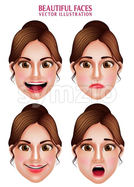 Woman Vector Faces with Beautiful Makeup Stock Vector