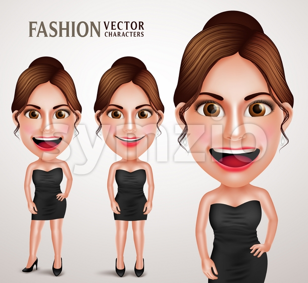 Gorgeous Fashionable Woman Vector Character Posing Like Model Wearing Elegant Dress, Good Hairstyle and Makeup Vector Illustration. This beautiful Business Woman ...