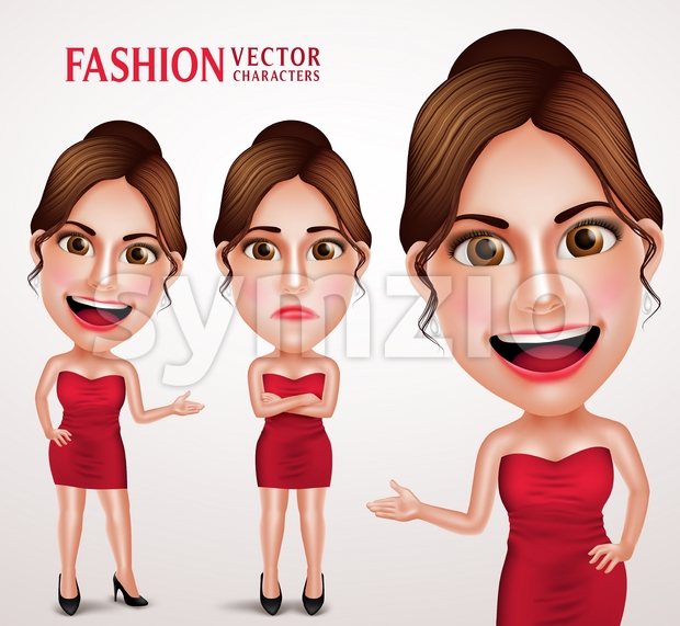 Fashion Woman Vector Character Posing Like Model Stock Vector